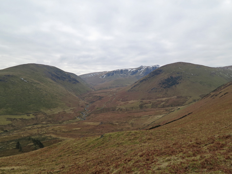 Valley of the River Glendermackin, Souther Fell left, Blencathra and Bannerdale Crags centre and The Tongue right