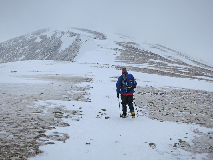 Passing snow shower, Lower Man ahead but we are going to Helvellyn first.