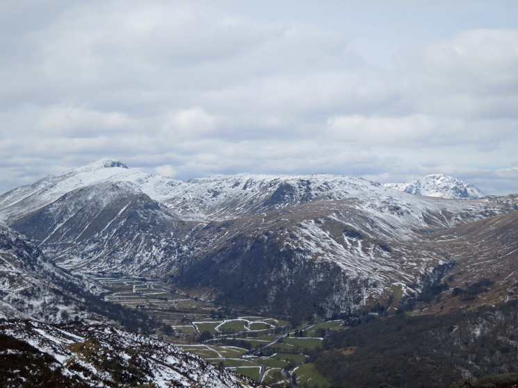 Looking down on upper Borrowdale. Great Gable far left and Pillar far right