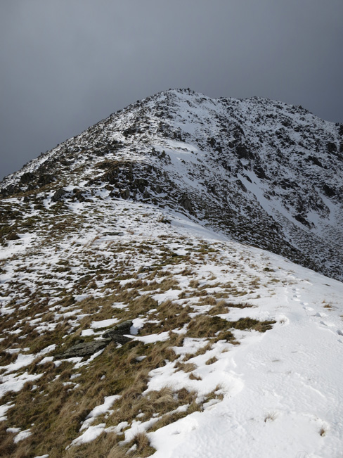 The top section of Ill Bell's north east ridge from our high point