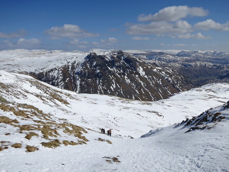 Looking back down to The Band with the Langdale Pikes beyond