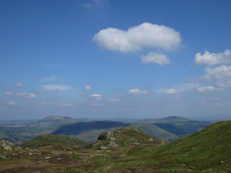 Looking back to The Knight with Great and Little Mell Fells in the distance