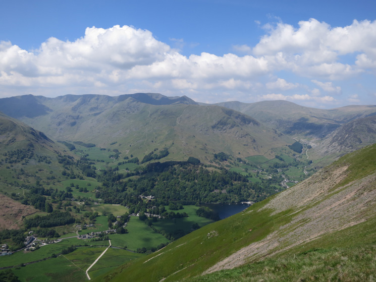 Looking across to the Helvellyn fells as we descend to Boredale Hause