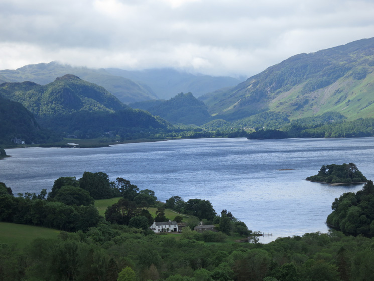 Looking up Derwent Water to Castle Crag from Castle Head