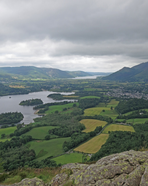 Derwent Water and Bassenthwaite Lake from Walla Crag. The pointy fell on the right is Dodd