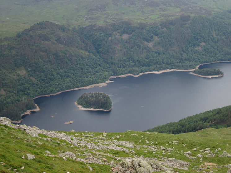 Looking down on Thirlmere with Hawes How Island and Deergarth How Island