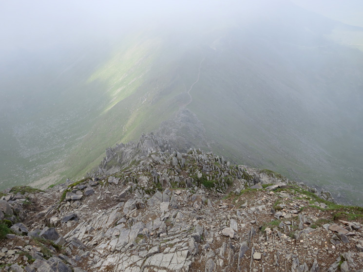 Looking down Swirral Edge, not my route today