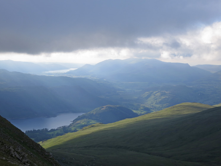 The Skiddaw fells and Bassenthwaite Lake in the distance