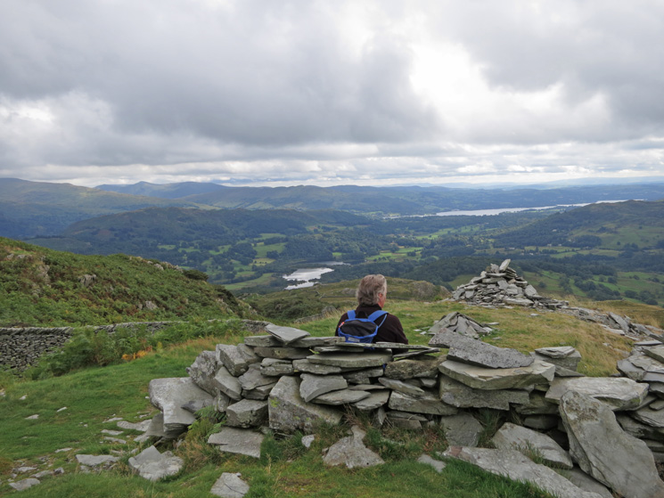 Seat with a view. Elter Water with Windermere beyond