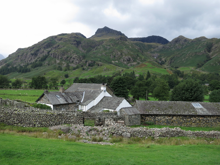 The Langdale Pikes from Side House