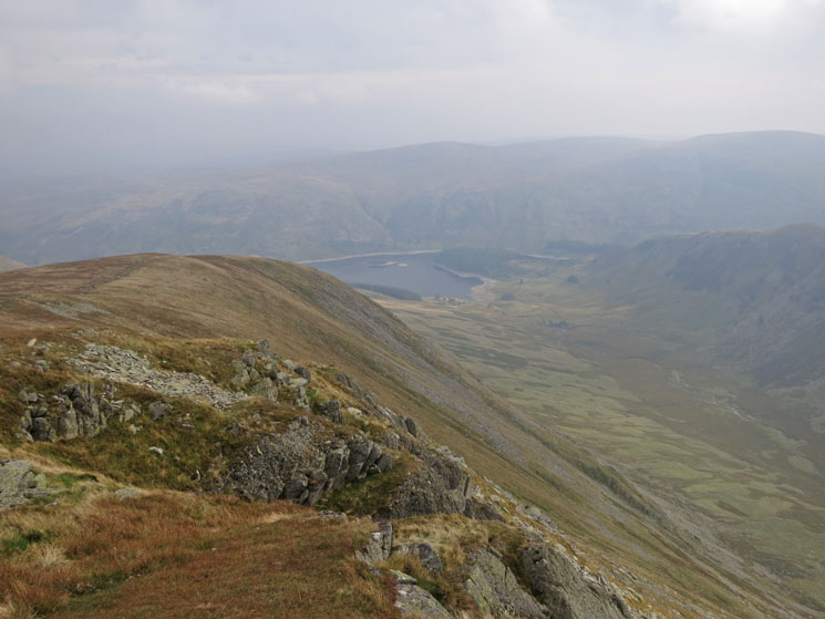 Riggindale and Haweswater far below from Kidsty Pike's summit
