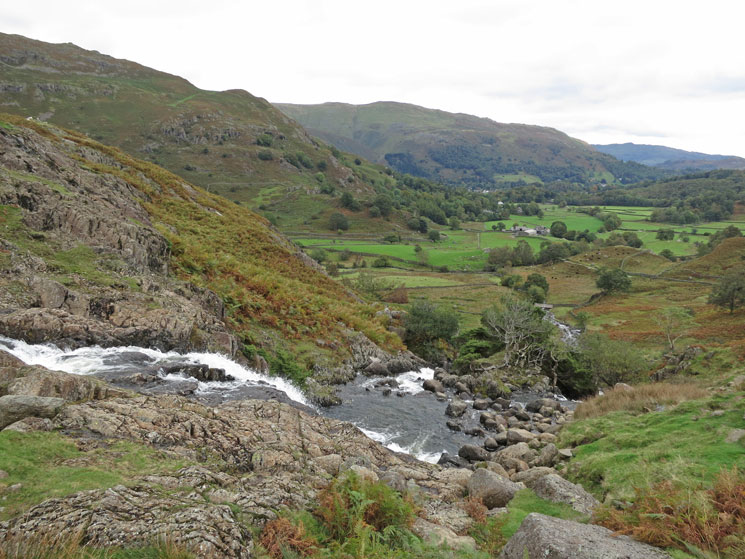Easedale from above the falls in Sourmilk Gill